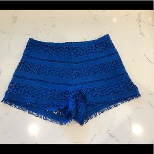 Royal blue lace shorts
